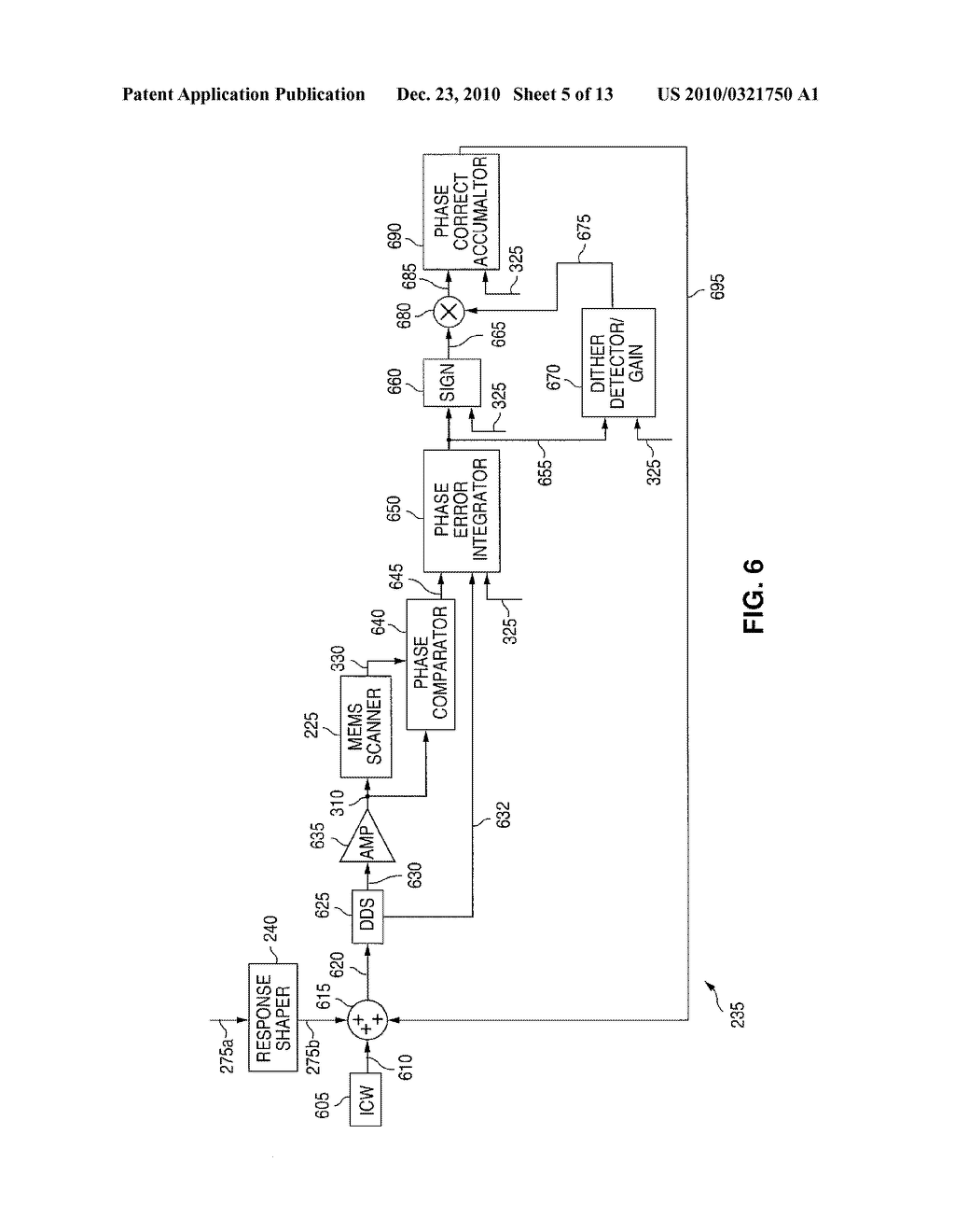 METHOD AND SYSTEM FOR PROVIDING RESONANT FREQUENCY CHANGE COMPENSATION IN A DRIVE SIGNAL FOR A MEMS SCANNER - diagram, schematic, and image 06