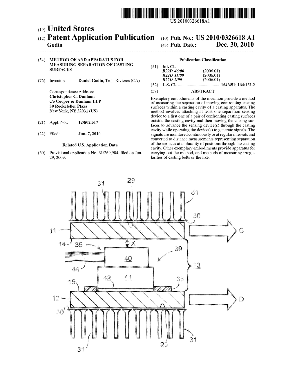Method of and apparatus for measuring separation of casting surfaces - diagram, schematic, and image 01