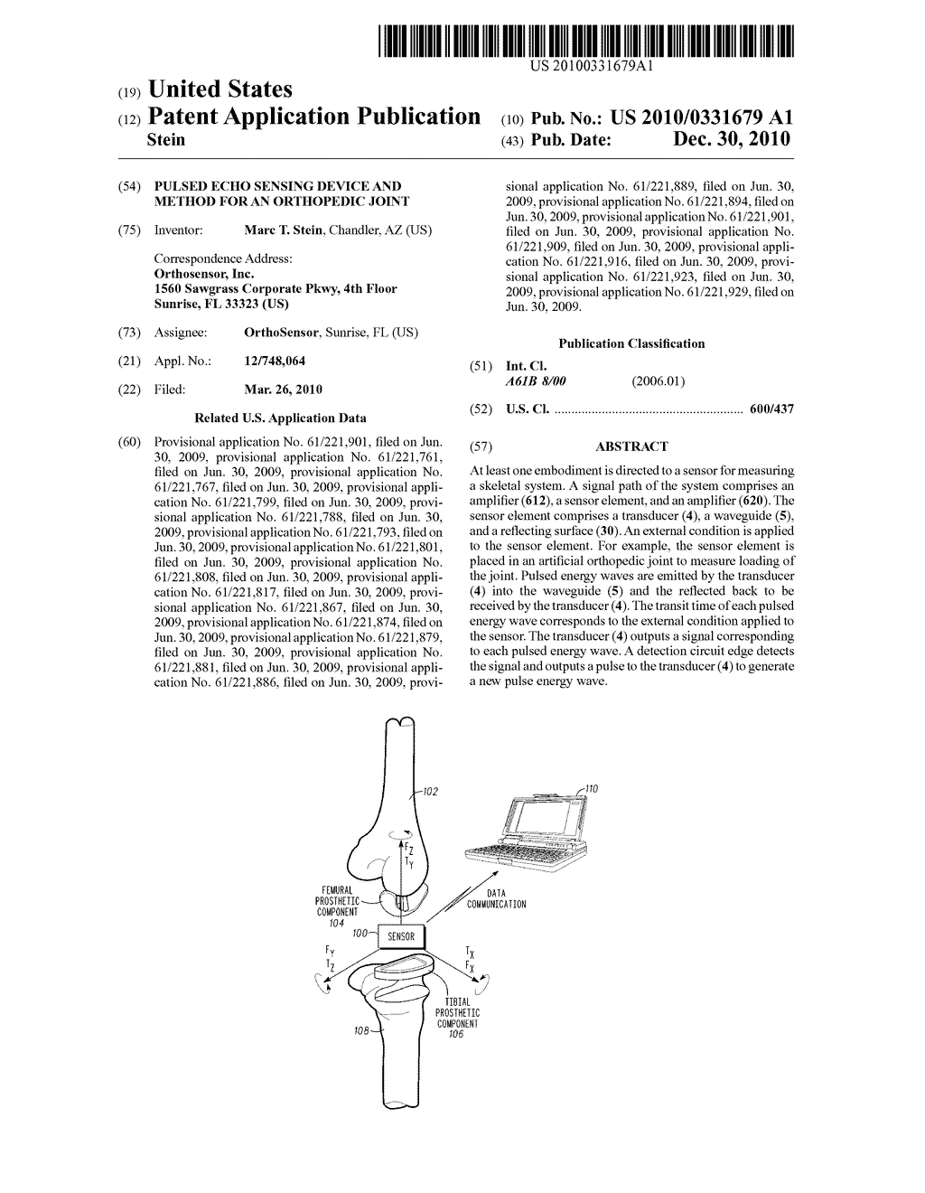 PULSED ECHO SENSING DEVICE AND METHOD FOR AN ORTHOPEDIC JOINT - diagram, schematic, and image 01