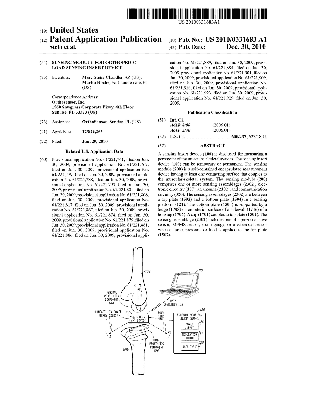 SENSING MODULE FOR ORTHOPEDIC LOAD SENSING INSERT DEVICE - diagram, schematic, and image 01