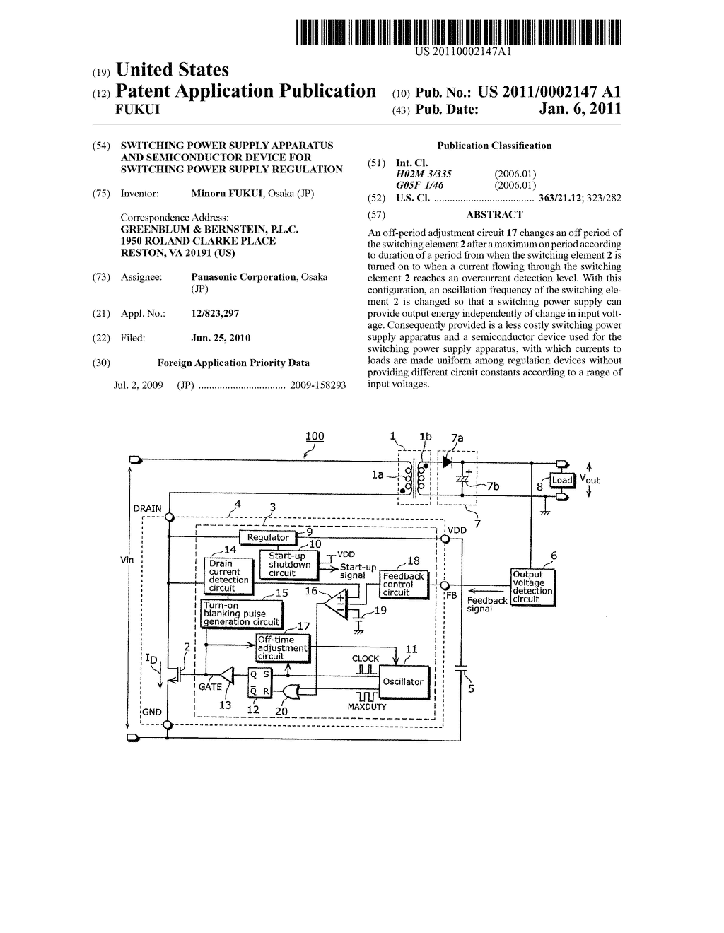 SWITCHING POWER SUPPLY APPARATUS AND SEMICONDUCTOR DEVICE FOR SWITCHING POWER SUPPLY REGULATION - diagram, schematic, and image 01