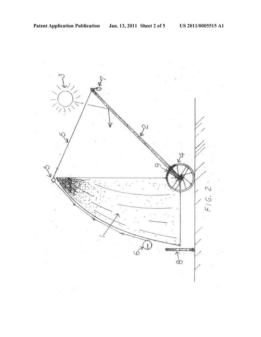 Solar half parabolic shell smelter with a heliostat on a turntable - diagram, schematic, and image 03