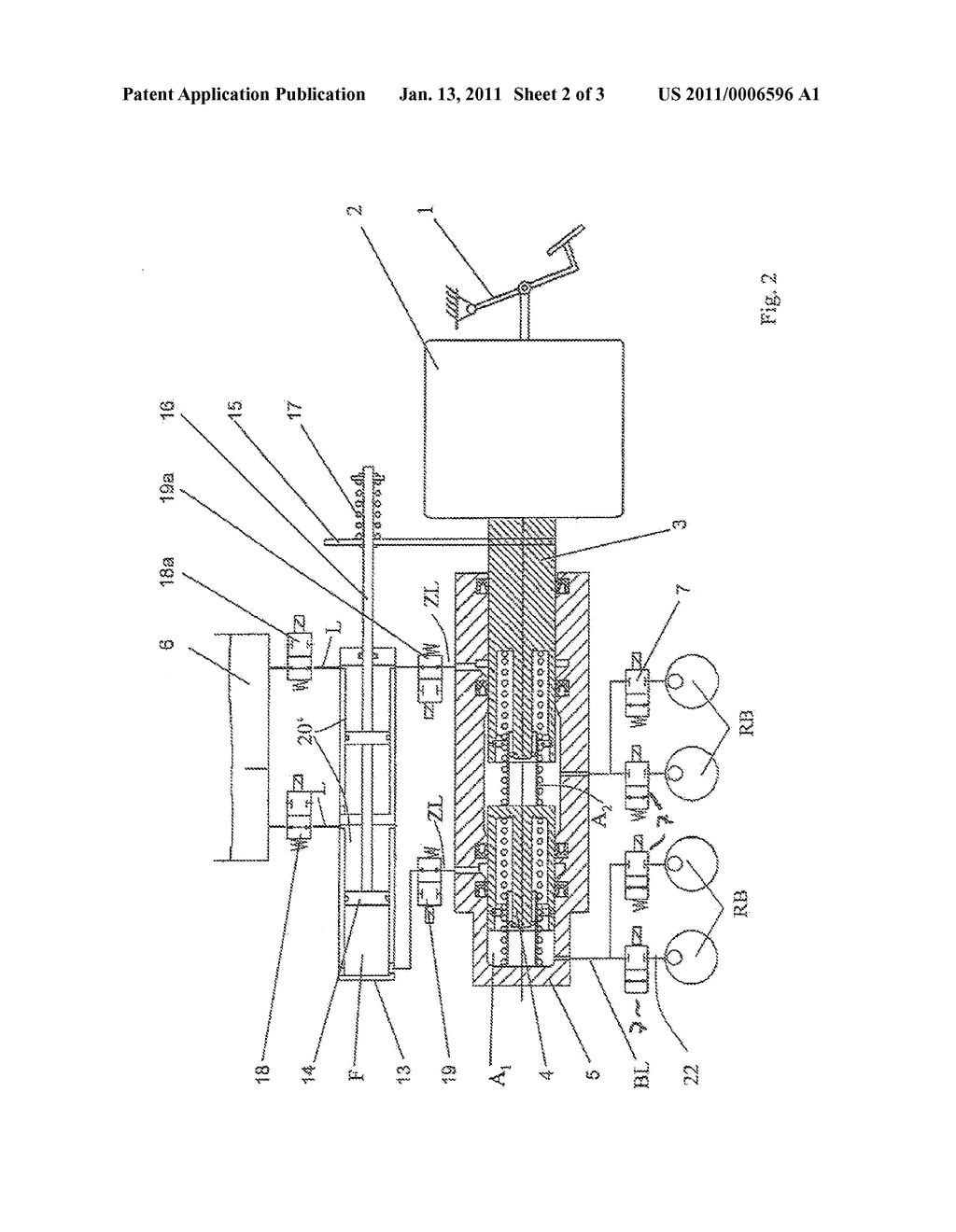 BRAKE SYSTEM COMPRISING AT LEAST ONE CONVEYING UNIT FOR REDELIVERING BRAKE FLUID TO THE WORKING CHAMBERS OF A BRAKE BOOSTER - diagram, schematic, and image 03
