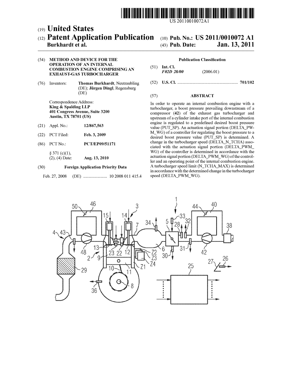 METHOD AND DEVICE FOR THE OPERATION OF AN INTERNAL COMBUSTION ENGINE COMPRISING AN EXHAUST-GAS TURBOCHARGER - diagram, schematic, and image 01