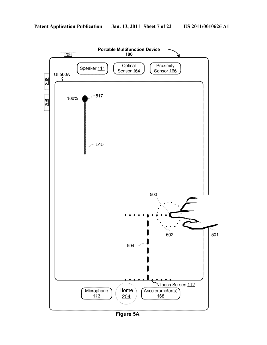 Device and Method for Adjusting a Playback Control with a Finger Gesture - diagram, schematic, and image 08
