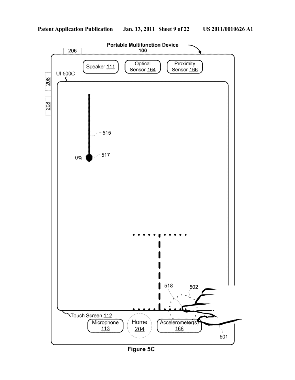 Device and Method for Adjusting a Playback Control with a Finger Gesture - diagram, schematic, and image 10
