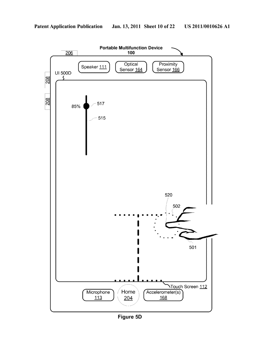 Device and Method for Adjusting a Playback Control with a Finger Gesture - diagram, schematic, and image 11