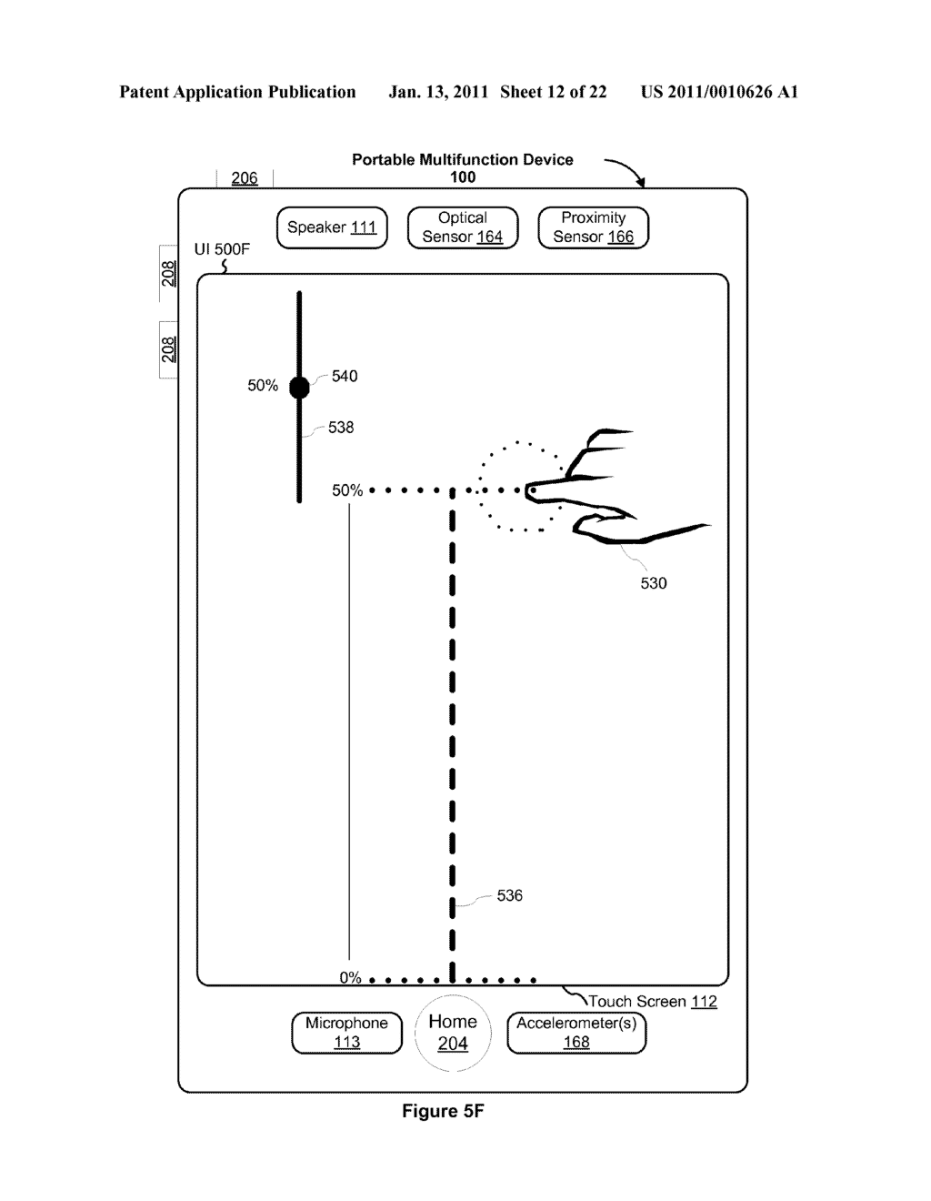 Device and Method for Adjusting a Playback Control with a Finger Gesture - diagram, schematic, and image 13
