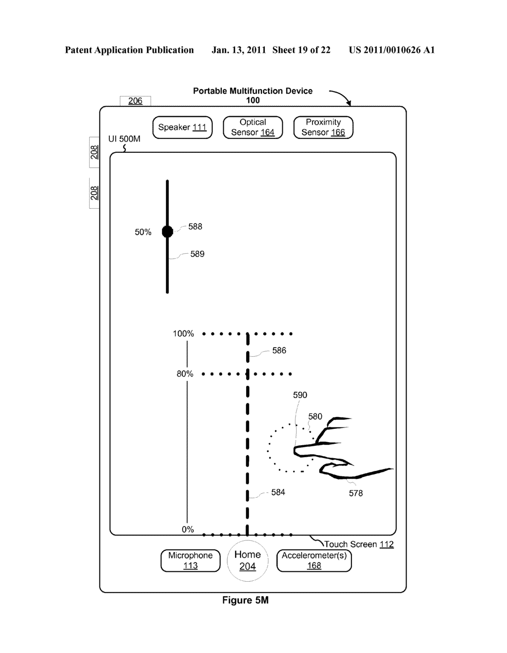Device and Method for Adjusting a Playback Control with a Finger Gesture - diagram, schematic, and image 20