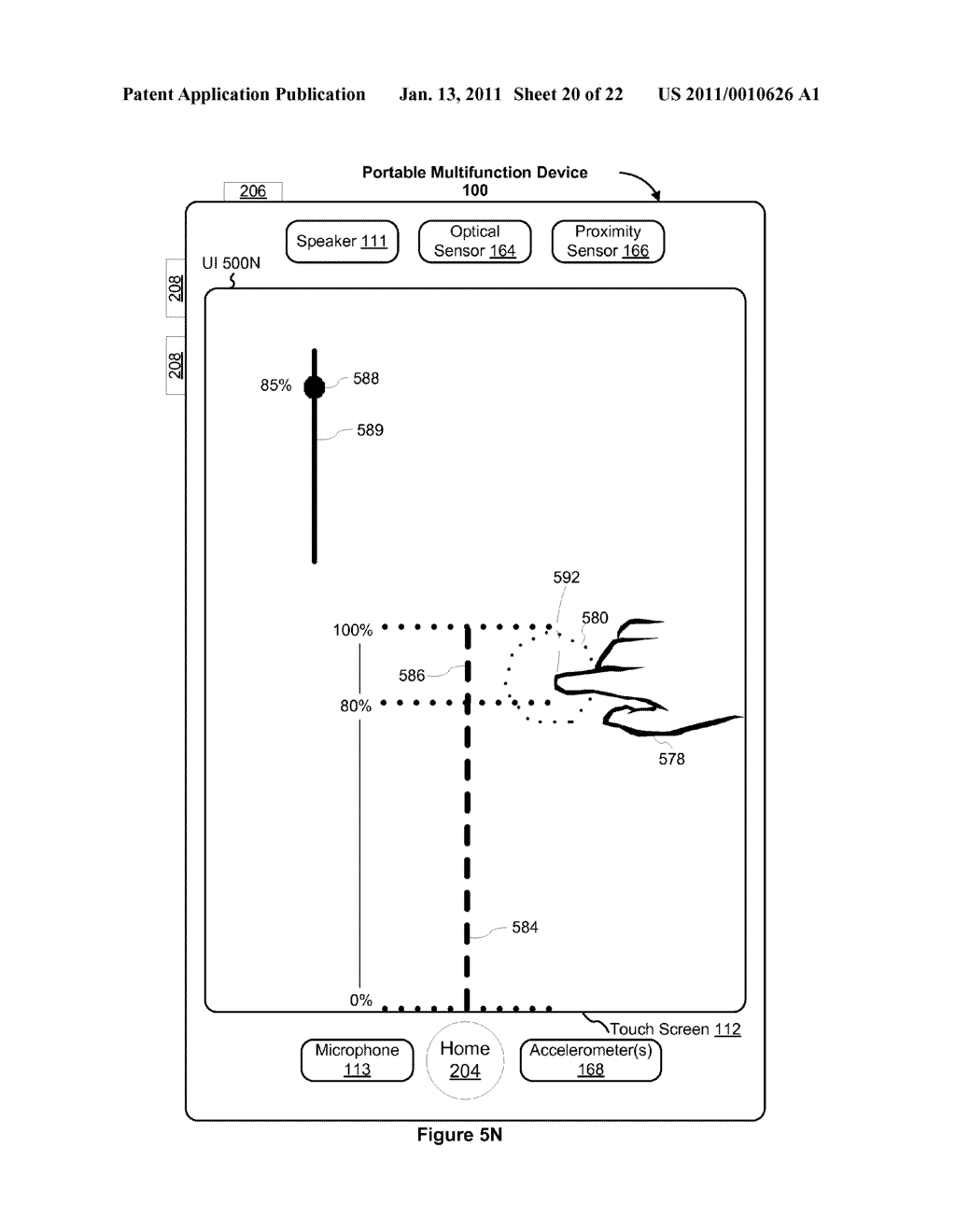 Device and Method for Adjusting a Playback Control with a Finger Gesture - diagram, schematic, and image 21