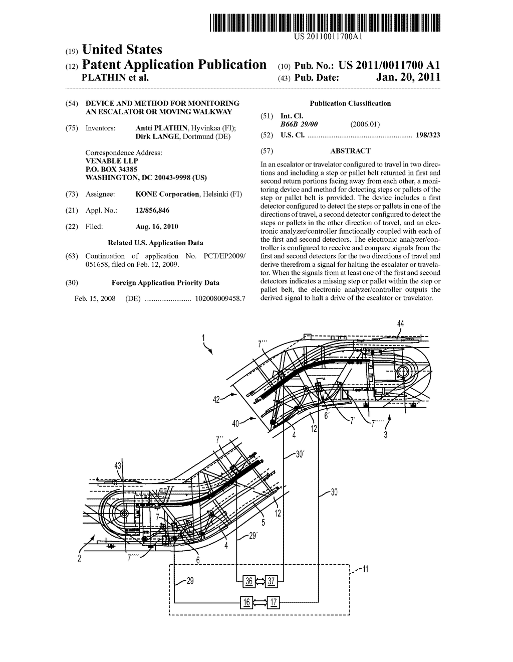 DEVICE AND METHOD FOR MONITORING AN ESCALATOR OR MOVING WALKWAY - diagram, schematic, and image 01