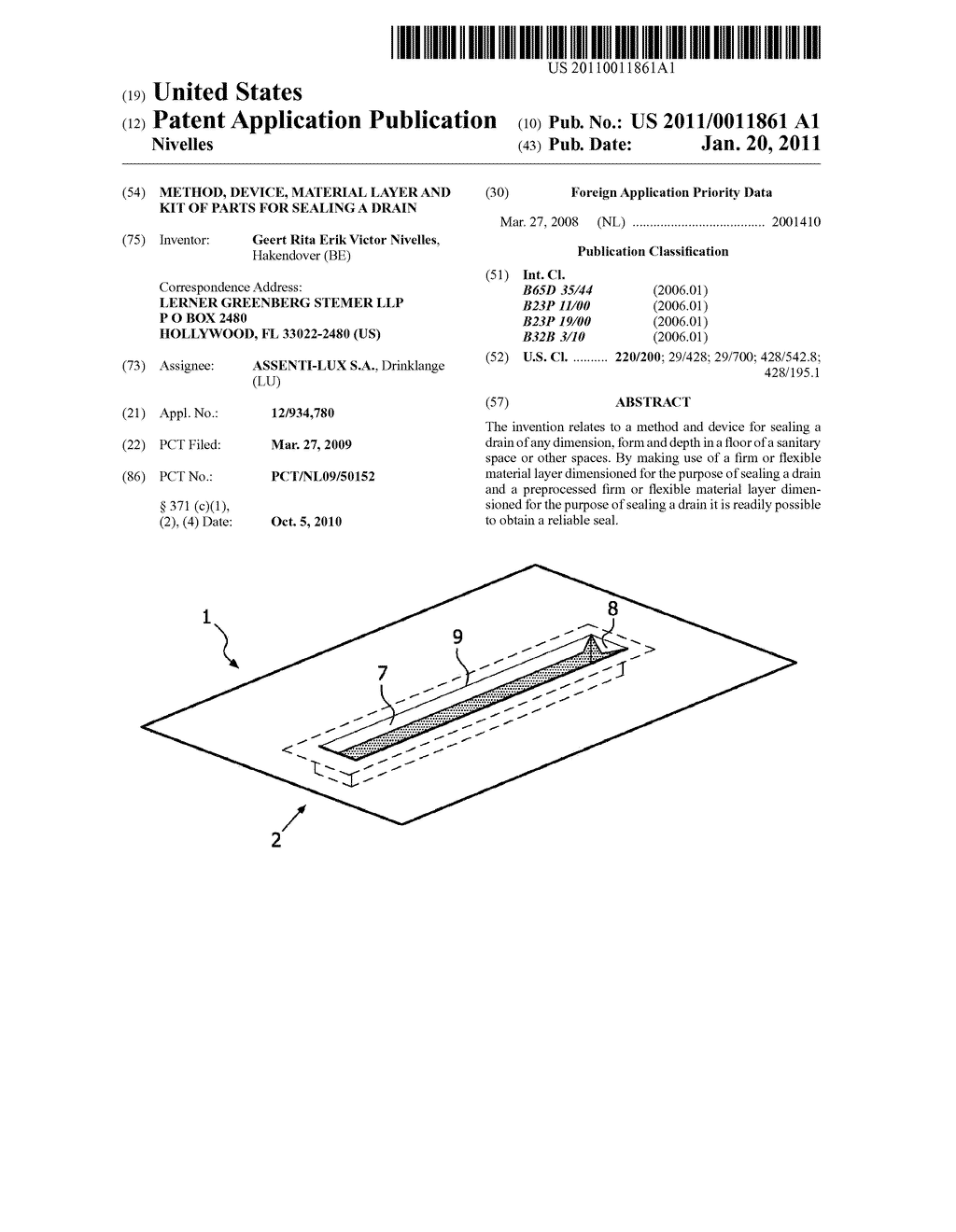 Method, Device, Material Layer and Kit of Parts for Sealing a Drain - diagram, schematic, and image 01