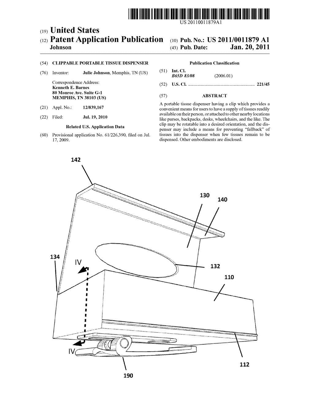 Clippable Portable Tissue Dispenser - diagram, schematic, and image 01
