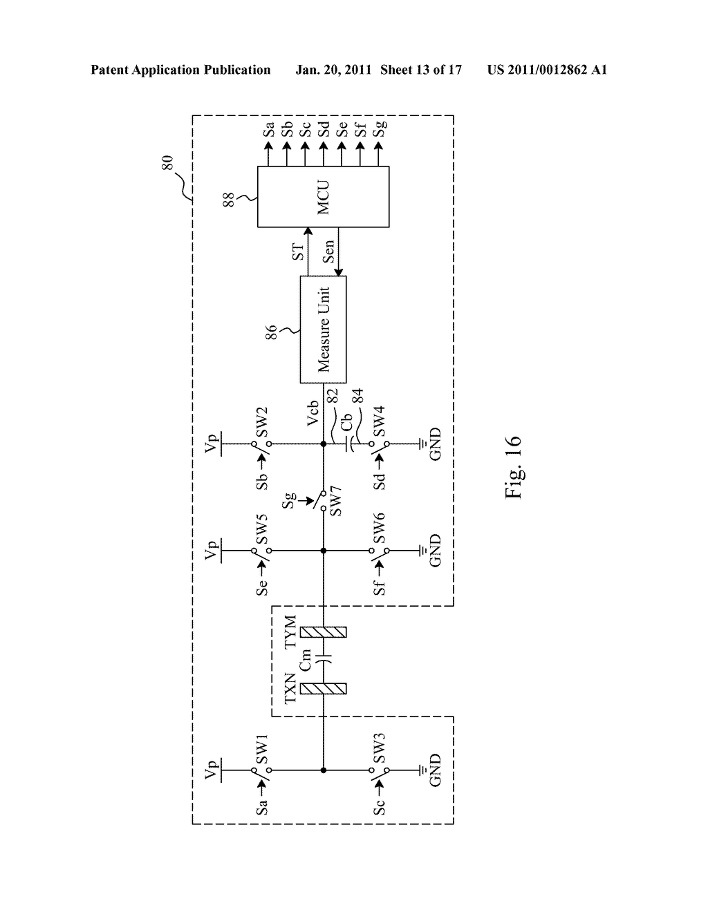 SENSING METHOD AND CIRCUIT FOR A CAPACITIVE TOUCH PANEL - diagram, schematic, and image 14