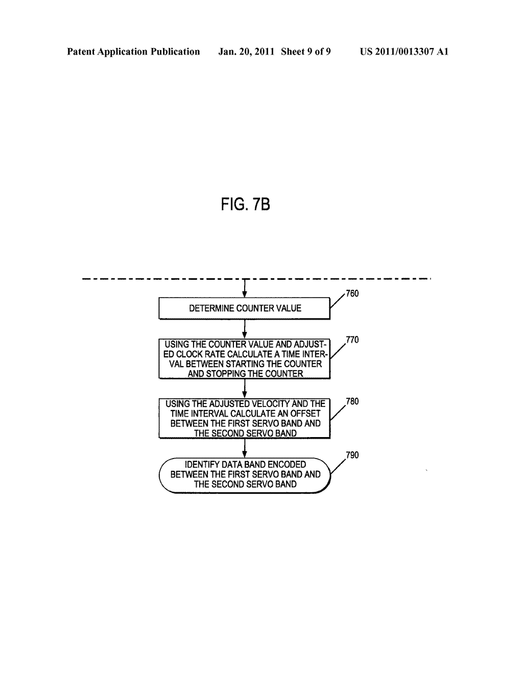 METHOD AND APPARATUS TO IDENTIFY A DATA BAND ENCODED BETWEEN TWO SERVO BANDS IN A SEQUENTIAL INFORMATION STORAGE MEDIUM - diagram, schematic, and image 10