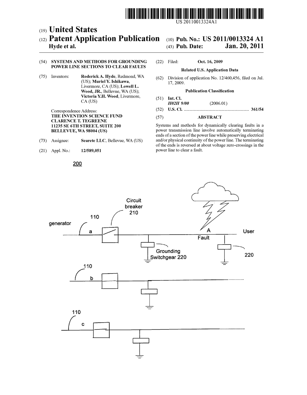 Systems and methods for grounding power line sections to clear faults - diagram, schematic, and image 01