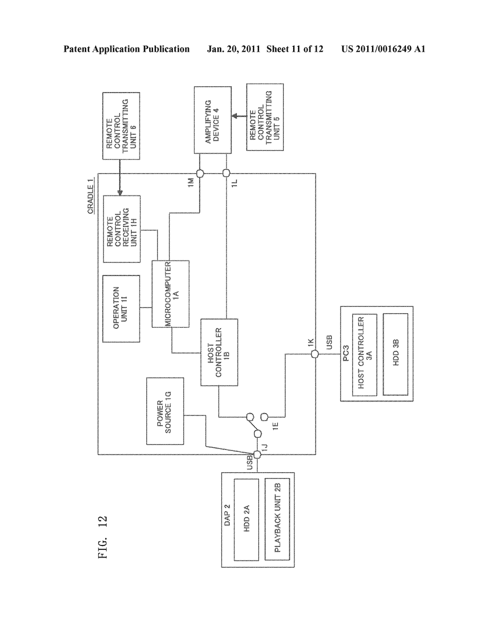 CRADLE FOR PORTABLE CONTENT PLAYBACK APPARATUS AND AMPLIFYING DEVICE TO WHICH THE SAME CRADLE IS CONNECTED - diagram, schematic, and image 12