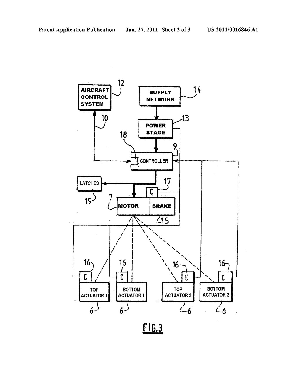 METHOD AND SYSTEM FOR CONTROLLING AT LEAST ONE ACTUATOR OF THE COWLINGS OF A TURBOJET ENGINE THRUST INVERTER - diagram, schematic, and image 03