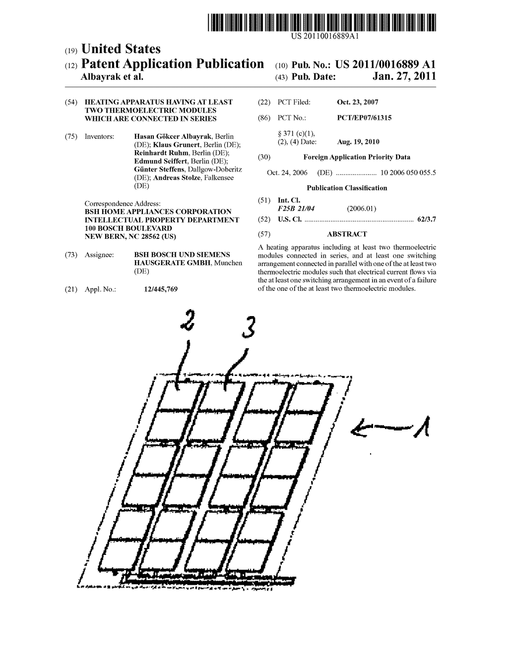 HEATING APPARATUS HAVING AT LEAST TWO THERMOELECTRIC MODULES WHICH ARE CONNECTED IN SERIES - diagram, schematic, and image 01