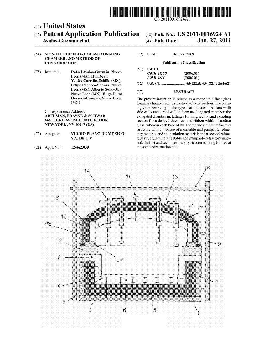 Monolithic float glass forming chamber and method of construction - diagram, schematic, and image 01