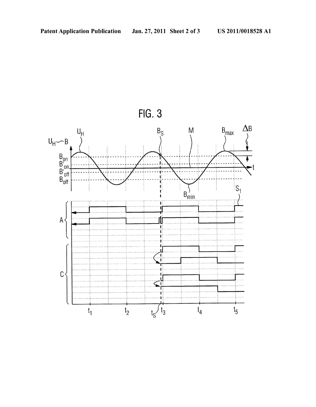 METHOD AND DEVICE FOR DETERMINING THE ACTUATION POSITION OF AN ADJUSTING ELEMENT OF A MOTOR VEHICLE - diagram, schematic, and image 03