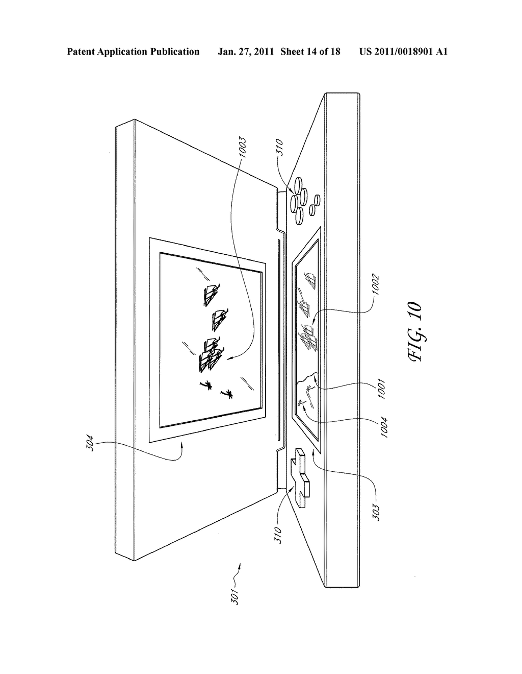 SYSTEM AND METHOD FOR FORMING A COMPOSITE IMAGE IN A PORTABLE COMPUTING DEVICE HAVING A DUAL SCREEN DISPLAY - diagram, schematic, and image 15
