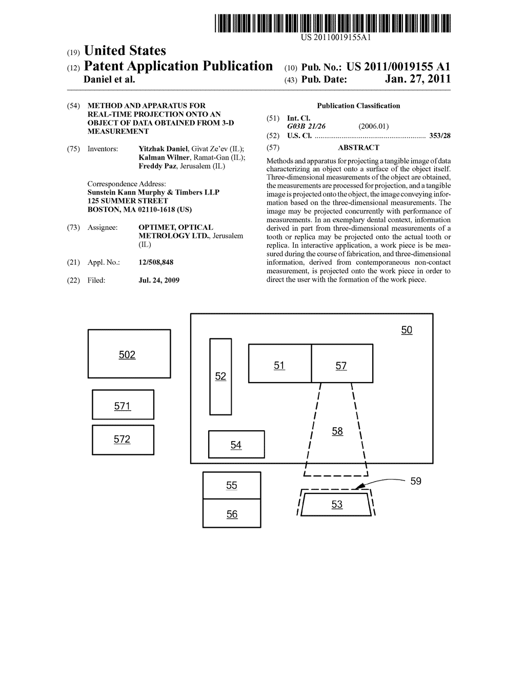 Method and Apparatus for Real-Time Projection onto an Object of Data Obtained from 3-D Measurement - diagram, schematic, and image 01