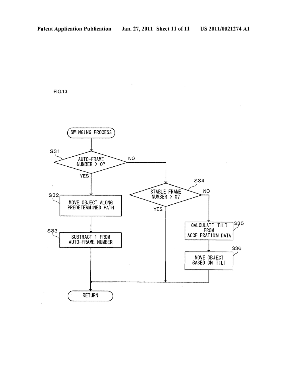 Game apparatus and recording medium recording game program for displaying a motion matching a player's intention when moving an input device - diagram, schematic, and image 12