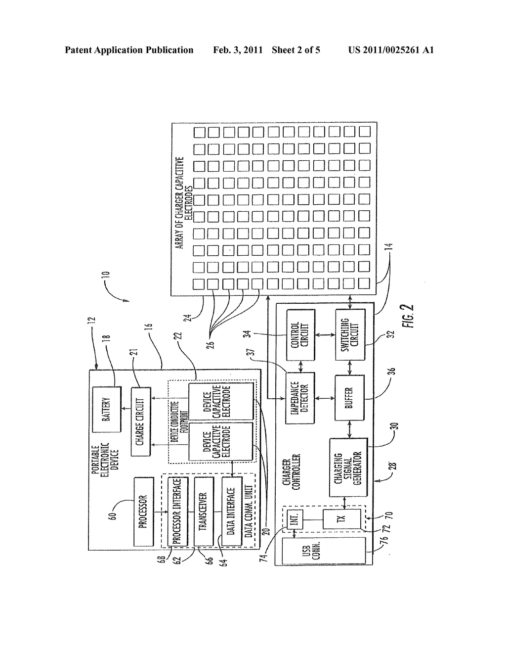 PORTABLE ELECTRONIC DEVICE AND CAPACITIVE CHARGER PROVIDING DATA TRANSFER AND ASSOCIATED METHODS - diagram, schematic, and image 03