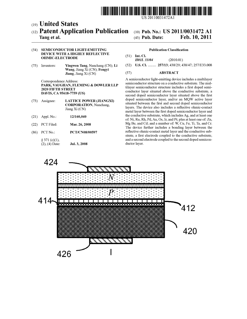 SEMICONDUCTOR LIGHT-EMITTING DEVICE WITH A HIGHLY REFLECTIVE OHMIC-ELECTRODE - diagram, schematic, and image 01