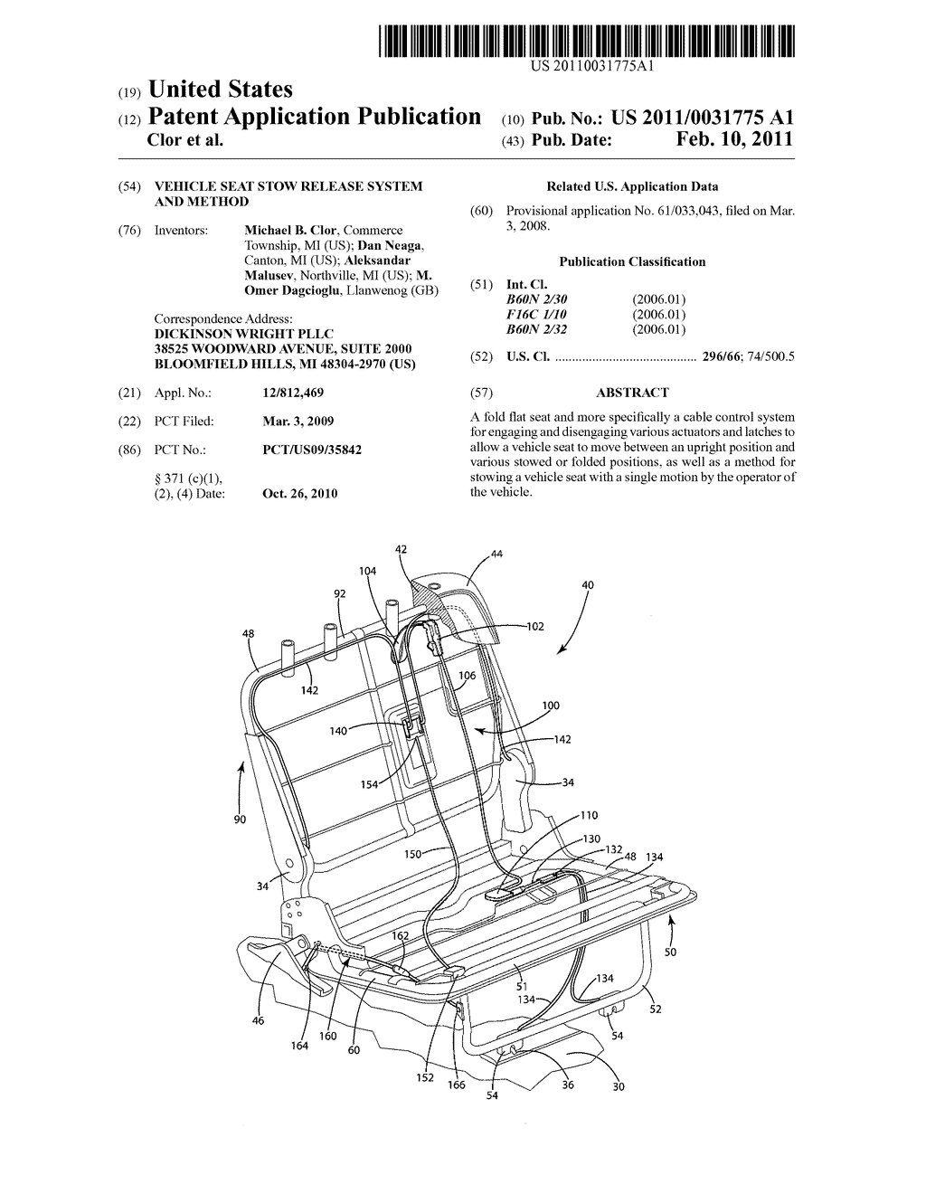 Vehicle Seat Stow Release System And Method - diagram, schematic, and image 01