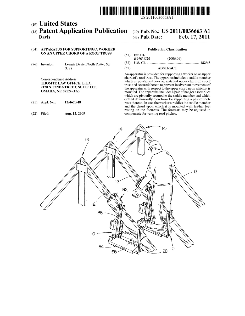 Apparatus for supporting a worker on an upper chord of a roof apparatus for supporting a worker on an upper chord of a roof truss diagram schematic and image 01 hexwebz Choice Image