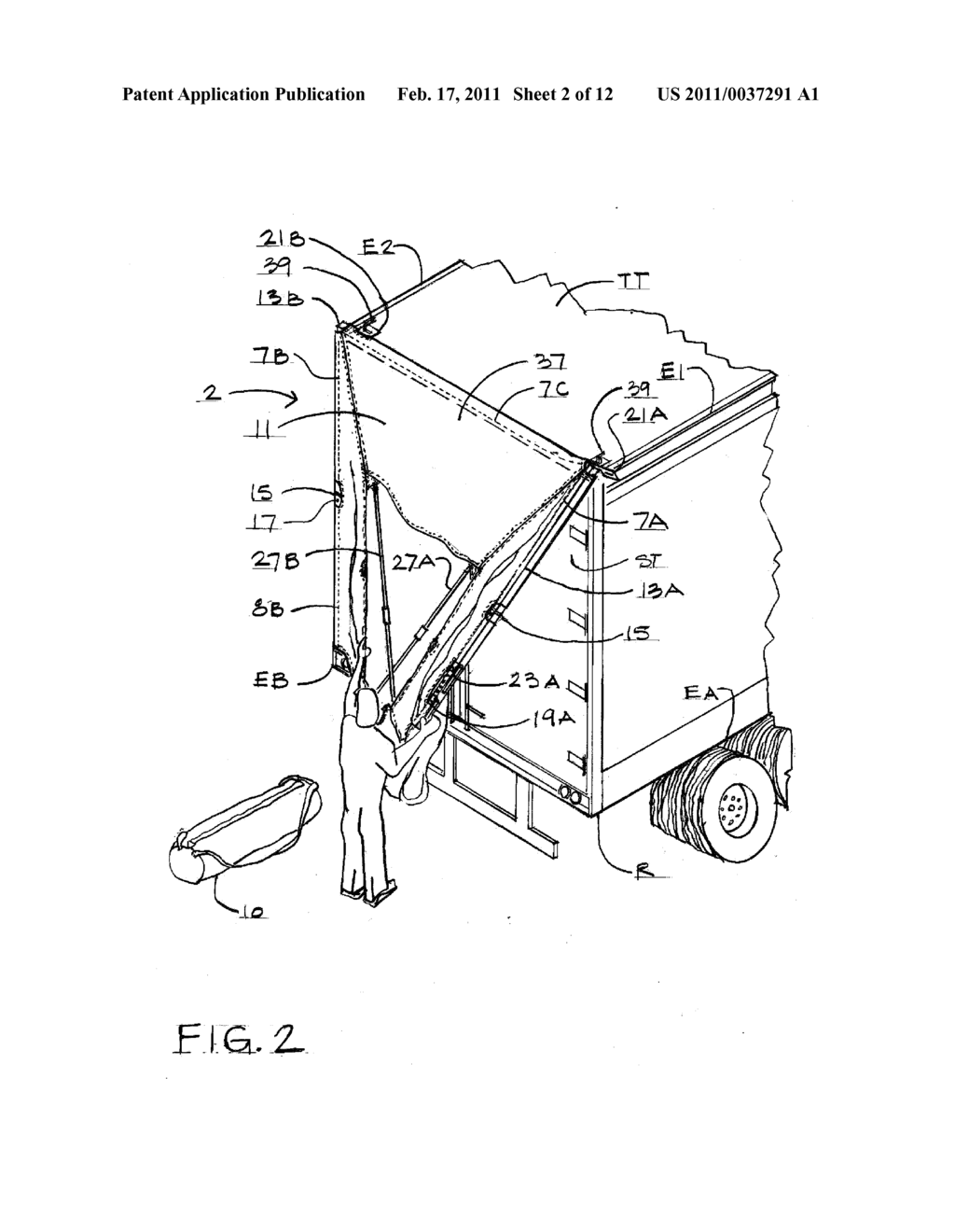 Device For Improving A Tractor Trailer Combination Truck Schematic Aerodynamics At The Rear Of Diagram And Image 03