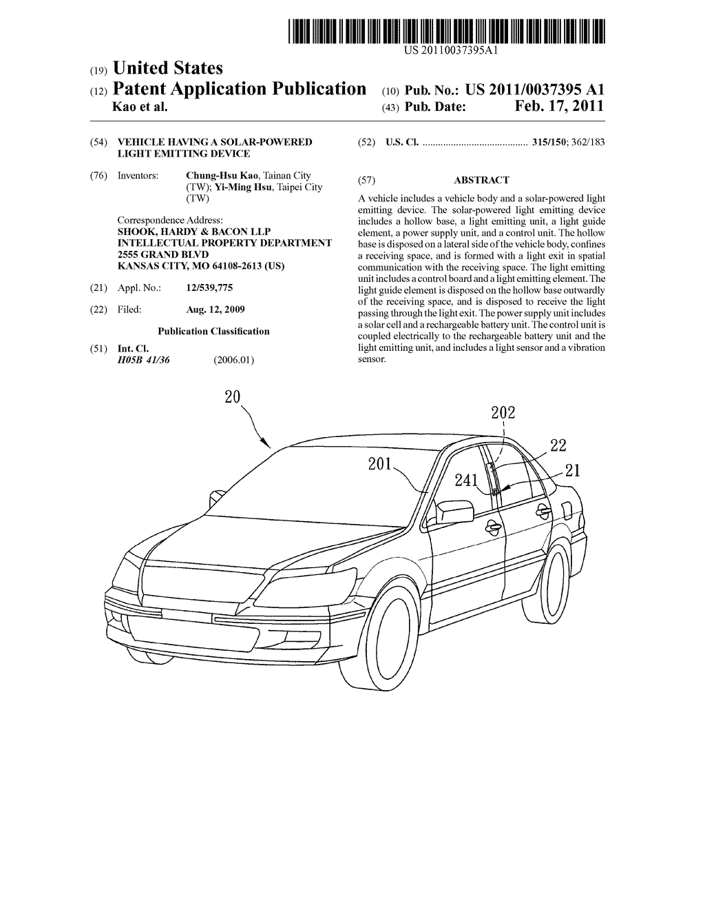 VEHICLE HAVING A SOLAR-POWERED LIGHT EMITTING DEVICE - diagram, schematic, and image 01