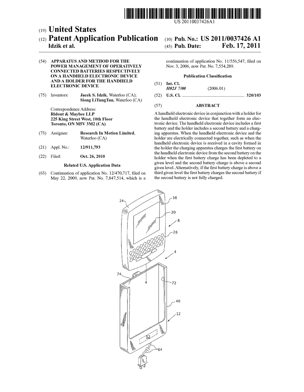 APPARATUS AND METHOD FOR THE POWER MANAGEMENT OF OPERATIVELY CONNECTED BATTERIES RESPECTIVELY ON A HANDHELD ELECTRONIC DEVICE AND A HOLDER FOR THE HANDHELD ELECTRONIC DEVICE - diagram, schematic, and image 01