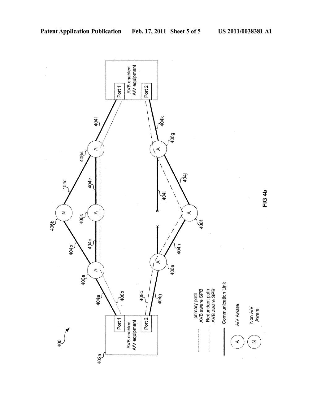 METHOD AND SYSTEM FOR FAULT RESILIENCE IN NETWORKS WITH AUDIO/VIDEO BRIDGING AWARE SHORTEST PATH BRIDGING - diagram, schematic, and image 06