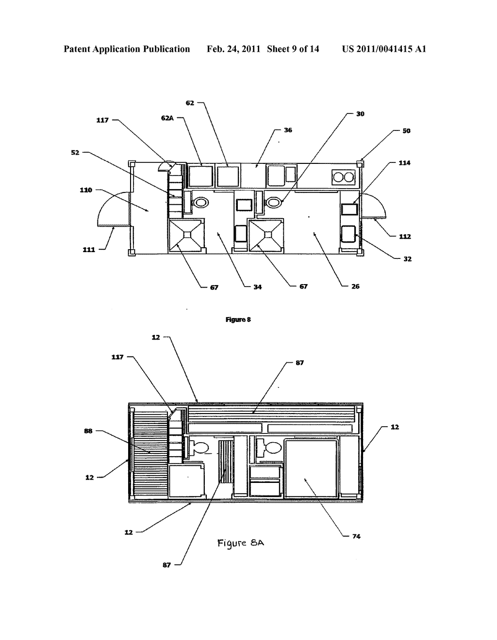 SELF-CONTAINED STRUCTURE CONFIGURABLE AS A SHIPPING CONTAINER AND AS A DWELLING - diagram, schematic, and image 10