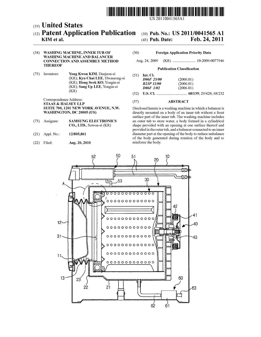 Washing Machine Inner Tub Of And Balancer Wiring Diagram Schematics Connection Assembly Method Thereof Schematic Image 01