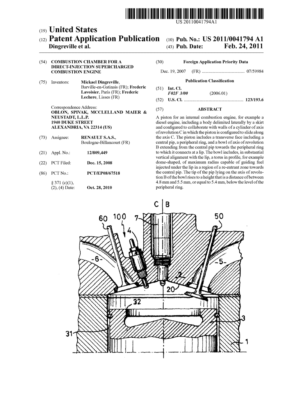 COMBUSTION CHAMBER FOR A DIRECT-INJECTION SUPERCHARGED COMBUSTION ENGINE -  diagram, schematic, and image 01