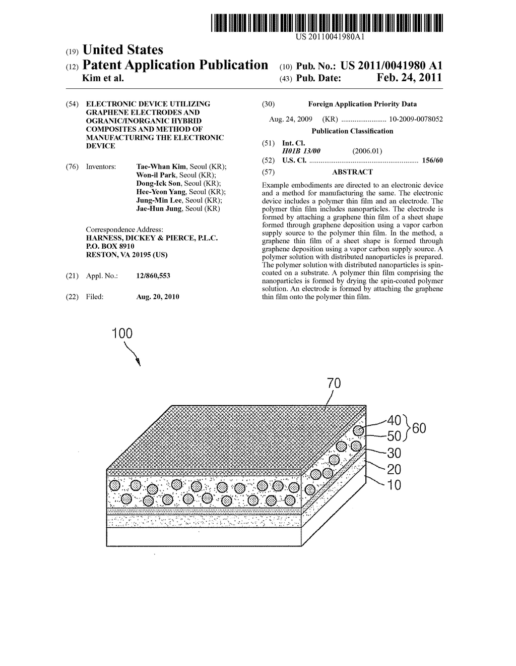 ELECTRONIC DEVICE UTILIZING GRAPHENE ELECTRODES AND OGRANIC/INORGANIC HYBRID COMPOSITES AND METHOD OF MANUFACTURING THE ELECTRONIC DEVICE - diagram, schematic, and image 01