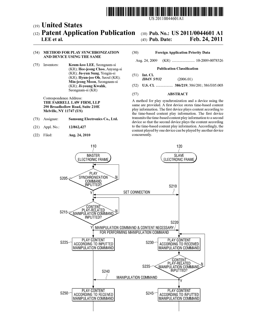 METHOD FOR PLAY SYNCHRONIZATION AND DEVICE USING THE SAME - diagram, schematic, and image 01