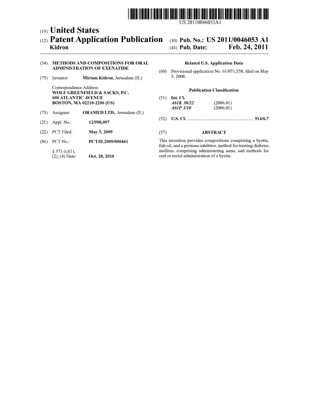 METHODS AND COMPOSITIONS FOR ORAL ADMINISTRATION OF EXENATIDE - diagram, schematic, and image 01