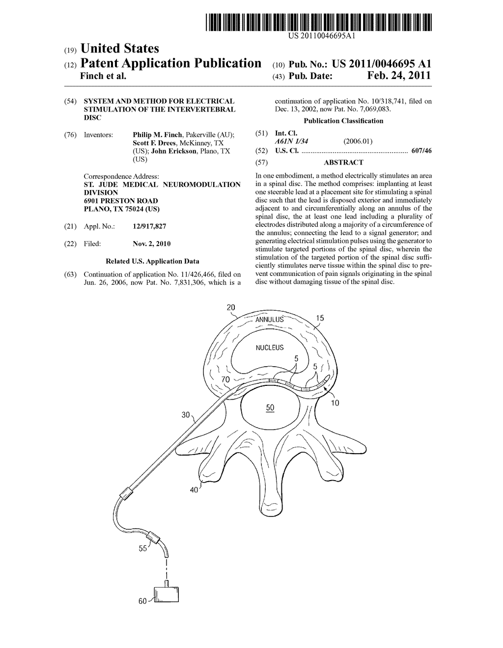 SYSTEM AND METHOD FOR ELECTRICAL STIMULATION OF THE INTERVERTEBRAL DISC - diagram, schematic, and image 01