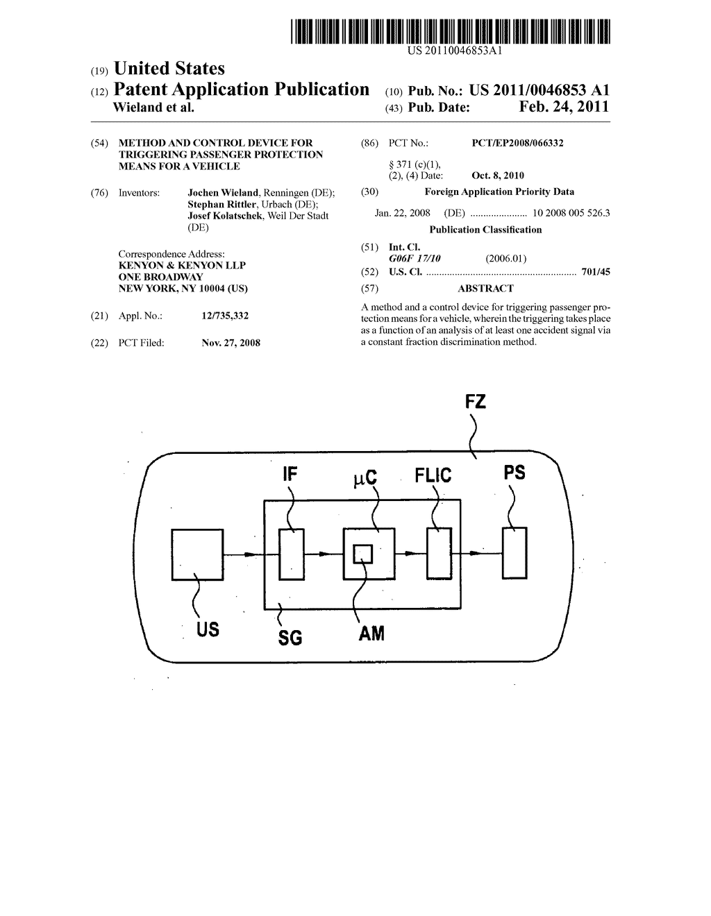 METHOD AND CONTROL DEVICE FOR TRIGGERING PASSENGER PROTECTION MEANS FOR A VEHICLE - diagram, schematic, and image 01