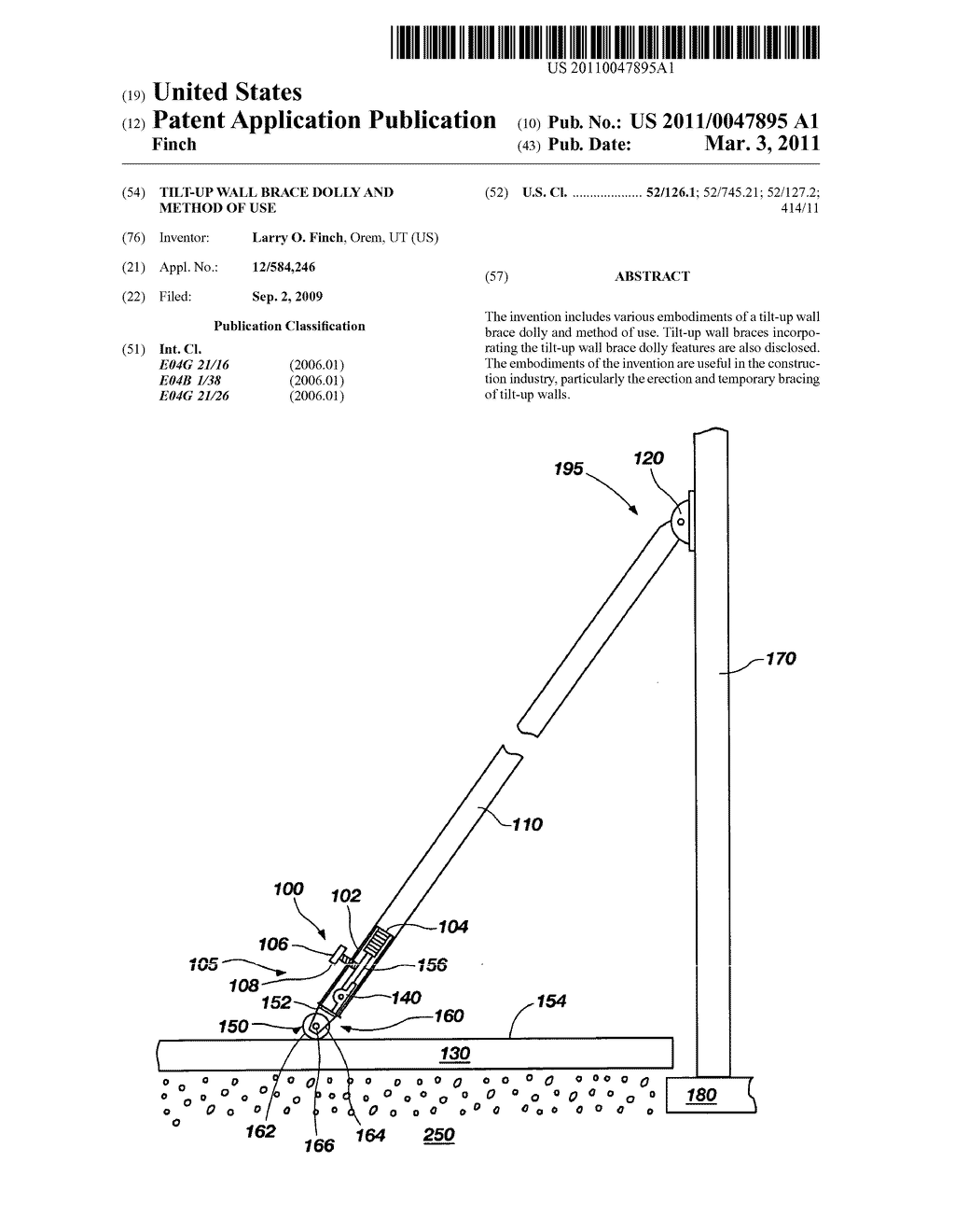 tilt-up wall brace dolly and method of use - diagram, schematic, and image  01