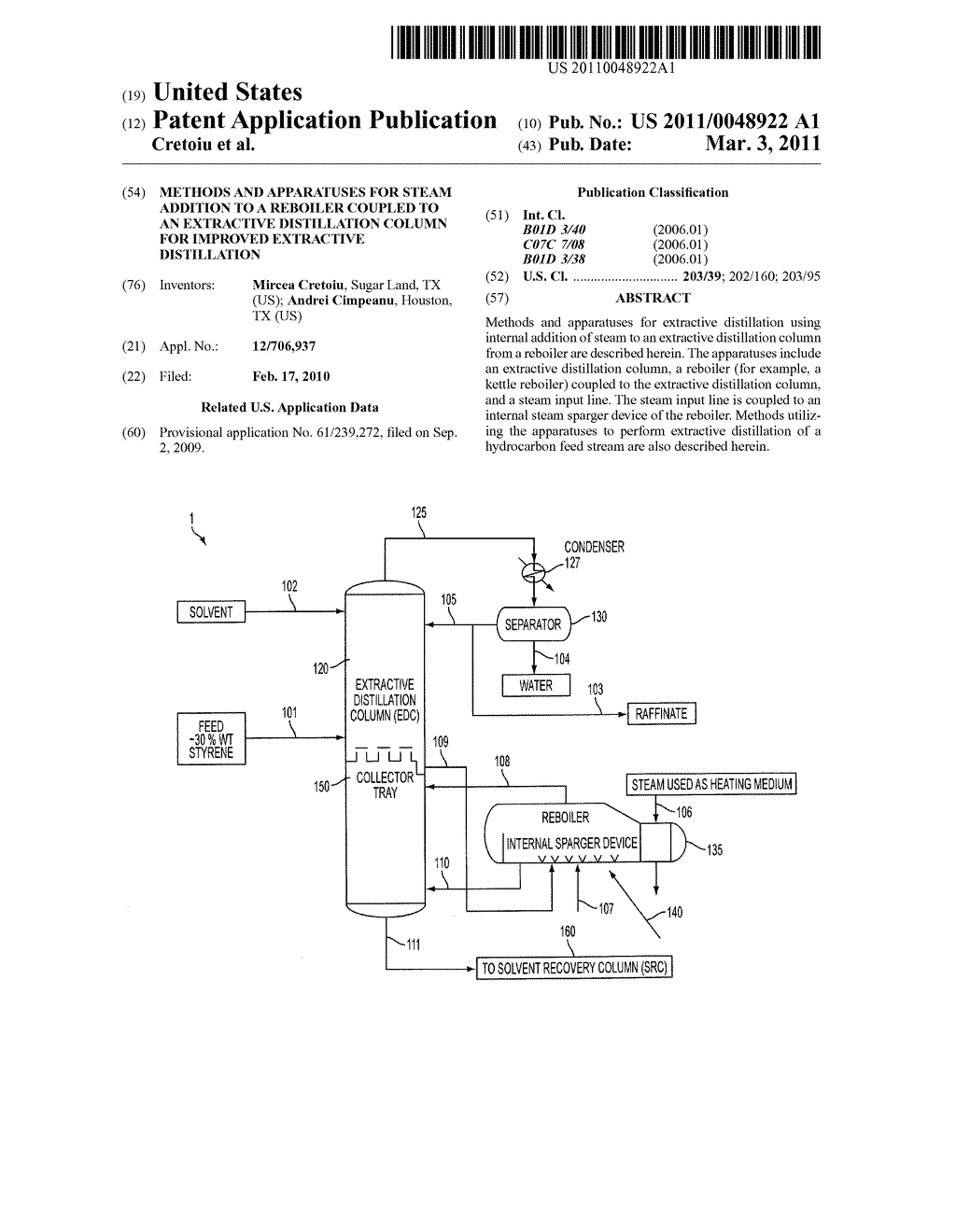 METHODS AND APPARATUSES FOR STEAM ADDITION TO A REBOILER COUPLED TO AN EXTRACTIVE DISTILLATION COLUMN FOR IMPROVED EXTRACTIVE DISTILLATION - diagram, schematic, and image 01