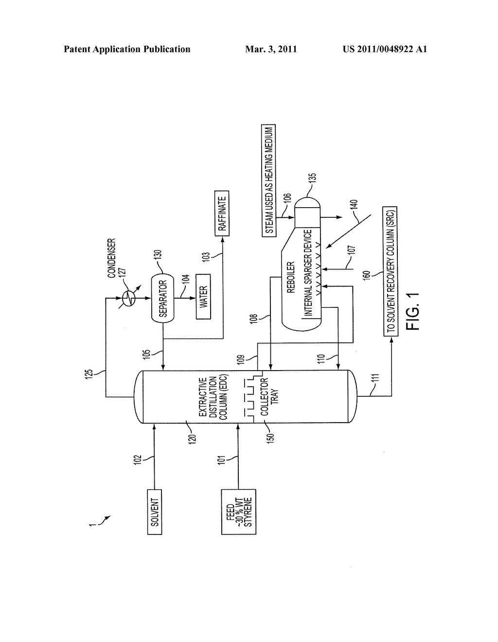 METHODS AND APPARATUSES FOR STEAM ADDITION TO A REBOILER COUPLED TO AN EXTRACTIVE DISTILLATION COLUMN FOR IMPROVED EXTRACTIVE DISTILLATION - diagram, schematic, and image 02