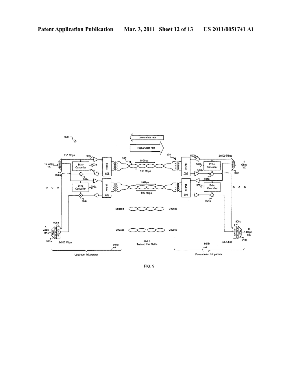 METHOD AND SYSTEM FOR AN ASYMMETRIC PHY OPERATION FOR ETHERNET A/V BRIDGING AND ETHERNET A/V BRIDGING EXTENSIONS - diagram, schematic, and image 13