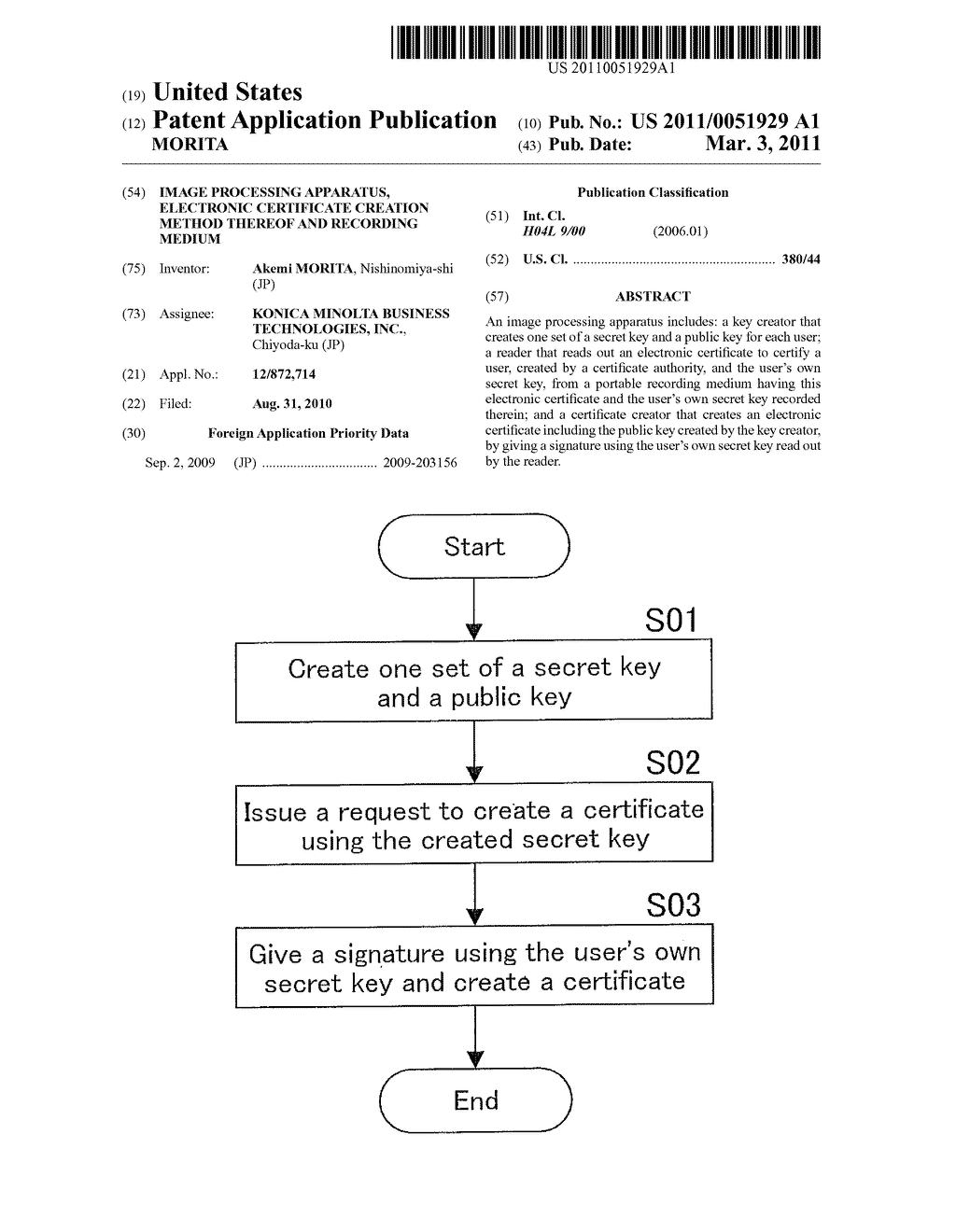 IMAGE PROCESSING APPARATUS, ELECTRONIC CERTIFICATE CREATION METHOD THEREOF AND RECORDING MEDIUM - diagram, schematic, and image 01