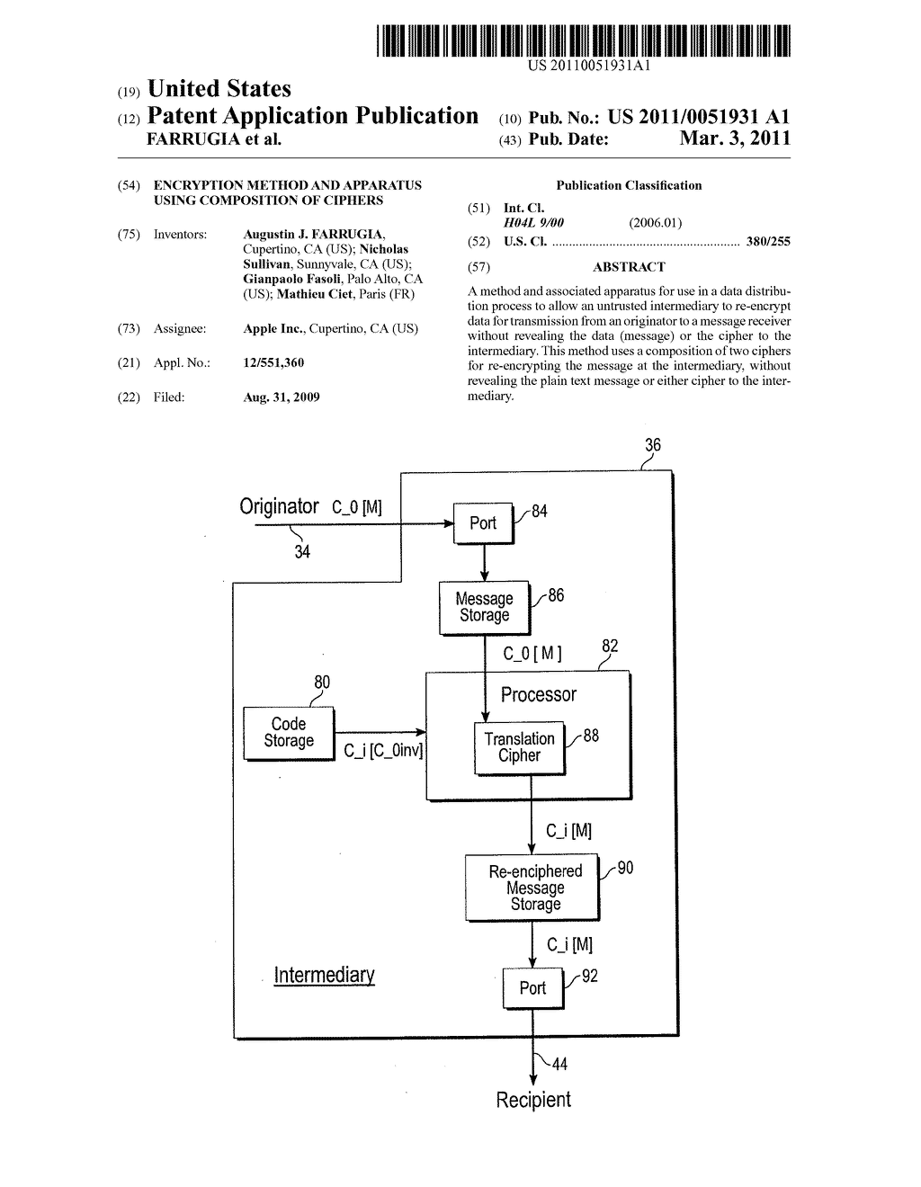 ENCRYPTION METHOD AND APPARATUS USING COMPOSITION OF CIPHERS - diagram, schematic, and image 01